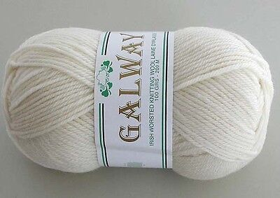 Pure 100% Wool Yarn Galway Worsted Weight 100g #08 WHITE