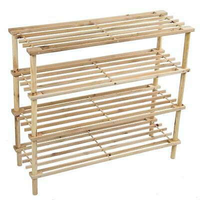 4 Tier Slated Shoe Rack Shelves Unit Natural Stand Holder New By Home Discount