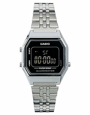 Casio Ladies' Mid-Size Silver Tone Classic Digital Retro Watch LA-680WA-1BDF