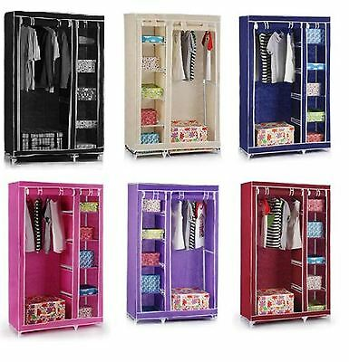 Double Canvas Blue Cream Purple Black Clothes Wardrobe With Hanging Rail Shelves