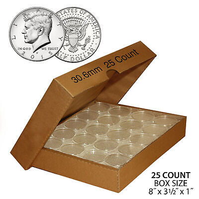 25 Direct Fit Airtight 30.6mm Coin Holders Capsules For JFK HALF DOLLAR