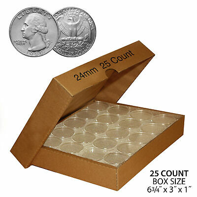 24mm Direct Fit Airtight Coin Holders Capsules for QUARTER (QTY: 25) with BOX