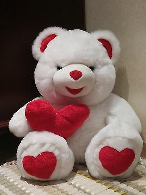 """19"""" Bear cute plush teddy white with Red ' love ' Heart - Valentine's Gift"""