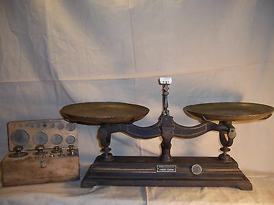Antique Cast Iron and Brass Balance Scale Henry Troemner w/ Weights Measures Tag