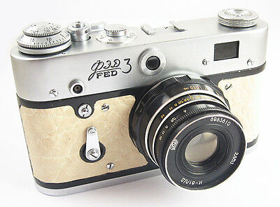 FED 3 Russian Leica Copy Camera EXCELLENT Industar-61LD Lens EXC WHITE