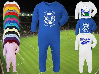 CHELSEA Football Baby ROMPER Sleep Suit Personalised Gift-Any team/colour Custom