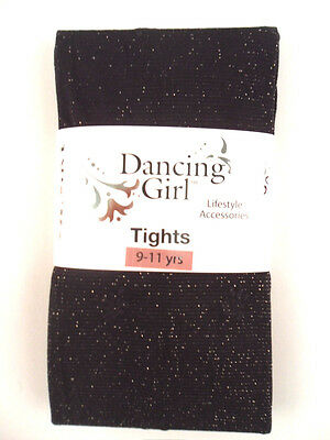 New Childs Childrens Girls  G Glitter Sparkly Party Black Tights Age 9  10  11
