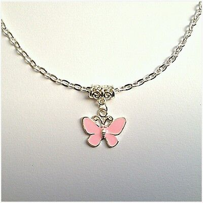 Girls / Childs Pink Butterfly Silver Plated Lobster Clasp Necklace