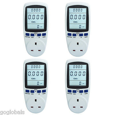4X Power Meter Monitor W kWh volts amps hertz with LCD display Built-in battery