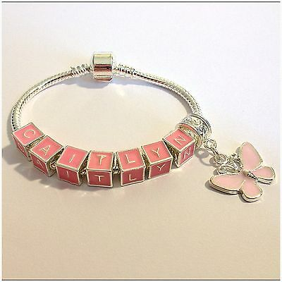 Girls Childs SP PINK Personalised Any Name PINK Butterfly Charm Bracelet