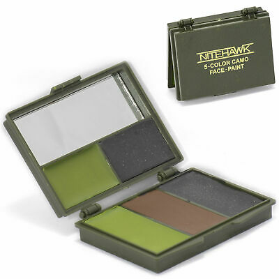 Nitehawk Camouflage GI/Army/Military 5 Colour Face Paint Set with Mirror