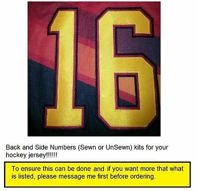 NHL or Any League UNSEWN or SEWN Back or/and Side NUMBERS Kit for Hockey Jersey