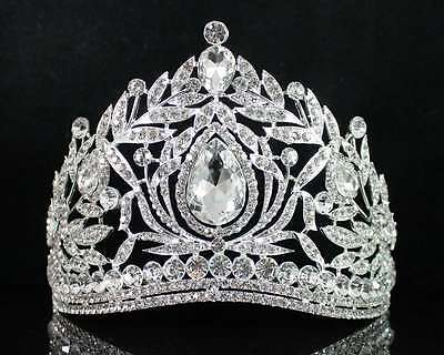 Fantastic Clear Austrian Crystal Rhinestone Tiara Crown Comb Prom Pageant T1855