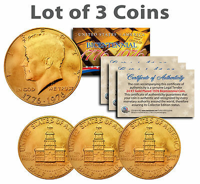 Bicentennial 1976 JFK Half Dollar US Coins 24K GOLD PLATED w/Capsules *Lot of 3*