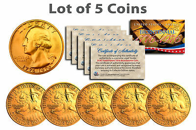 Bicentennial 1976 Quarters US Coins 24K GOLD PLATED w/Capsules & COA *Lot of 5*