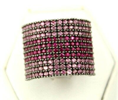 Beautiful 10K White Gold Fancy Design Pink and Purple Topaz Ring