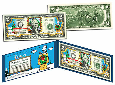 PEANUTS *Charlie Brown & Snoopy* CHRISTMAS Legal Tender U.S. $2 Bill *LICENSED*