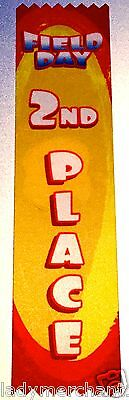 """""""FIELD DAY 2ND PLACE"""" Student Award Ribbons, Lot of 50, ALL NEW!"""