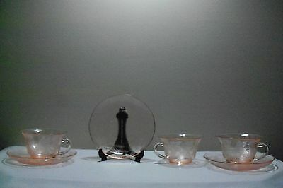 *Three Pink Depression Glass Dogwood Thin Cups and Saucers