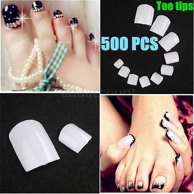 500 Pcs Short Acrylic White False Fake Nail Art Toe Tips Manicures DIY Accessory
