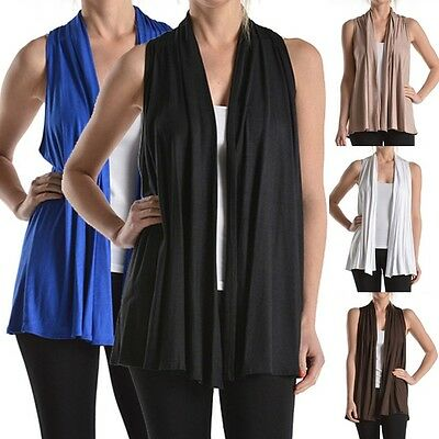 USA Women Sleeveless Open Front Cardigan Shawl Collar Draped Top Vest S M L XL