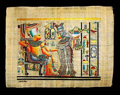 Rare Authentic Hand Painted Ancient Egyptian Papyrus King Tut Golden Shrine