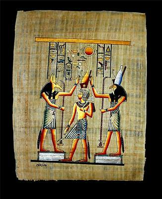 "Rare Authentic Hand Painted Ancient Egyptian Papyrus 13""x17"" Ramses II Crowning"