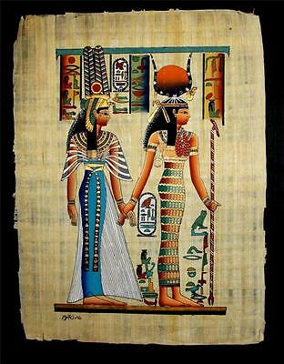 Rare Authentic Hand Painted Ancient Egyptian Papyrus Nefertari to Afterlife