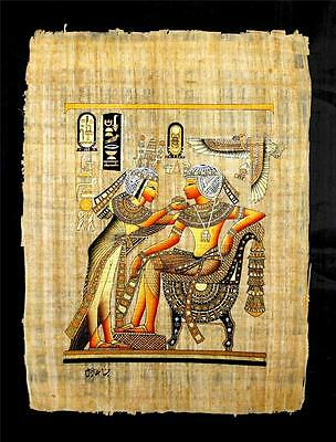 Rare Authentic Hand Painted Ancient Egyptian Papyrus King Tut & Wife Gold Shrine
