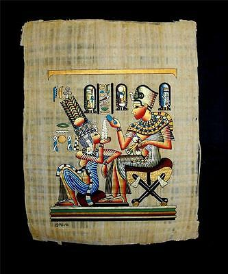 Rare Authentic Hand Painted Ancient Egyptian Papyrus King Tut & Wife in Love