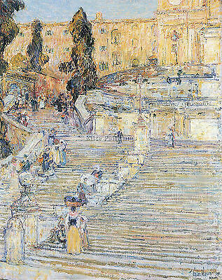 The Spanish Steps By Hassam Artist Painting Reproduction Handmade Oil Canvas