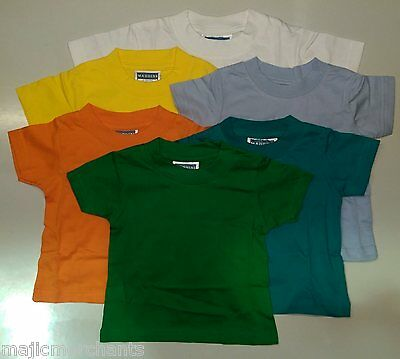 Plain T Shirts Baby Toddler 100% Cotton Kids Tee Shirt Maddins 6 - 30 months New