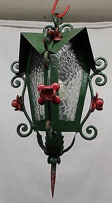 Antique Tin Tole Red Green Floral Ceiling Light Fixture Ice Glass Vtg 4240-15