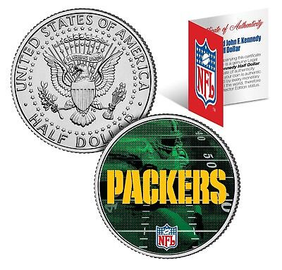 GREEN BAY PACKERS Field JFK Kennedy Half Dollar US Colorized Coin NFL Licensed