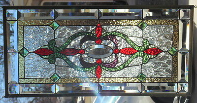 Stained Glass Window Hanging  28 1/8 X 13""