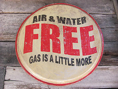 "Route 66 AIR & WATER FREE Vintage-Look Sign - 18"" Serving Tray - Garage Gas"