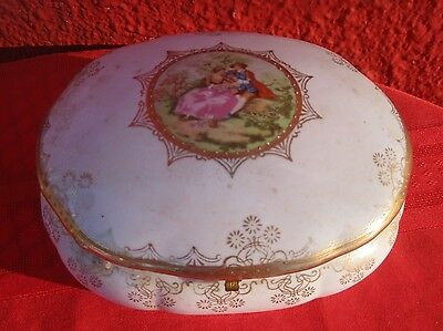 Antique Victorian Porcelain Dresser Jewelry Box Hand Painted Brass Porcelain ✞