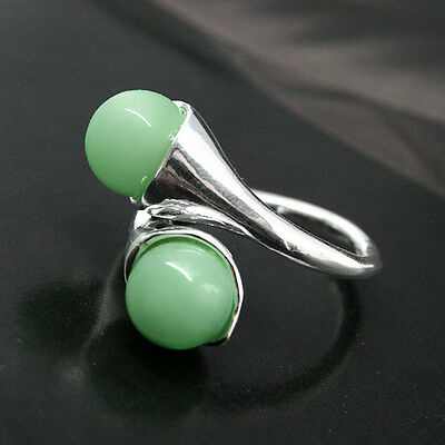 RARE GREEN JADE BEAD ROUND GEMS 925 STERLING SILVER RING SIZE 7 8 9 10