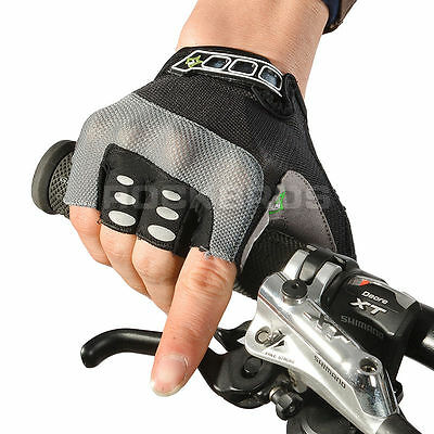 RockBros Mens Bicycle Cycling Half Finger Gloves Gel Pad Fingerless Gloves Black