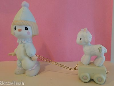 Precious Moments birthday train clown and lamb only 1985 vintage set of 2 (tbl6)