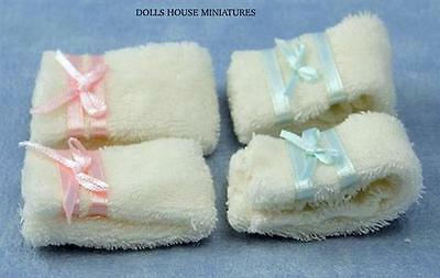 Pack of Four Towels,  Dolls House Miniature, Bathroom Accessory 1/12 scale.