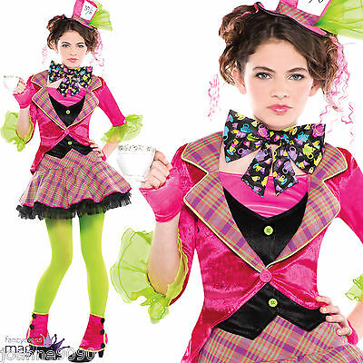 Teen Mad Hatter Girls Alice in Wonderland Tea Party Fancy Dress Costume Outfit
