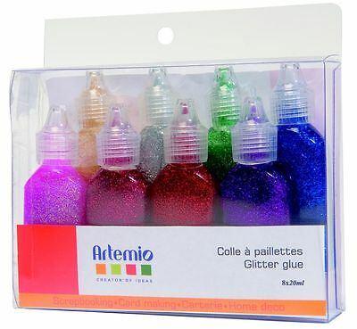 Glitterglue Set 8 x 25 ml Glitterleim Glitzerkleber Artemio 10005006