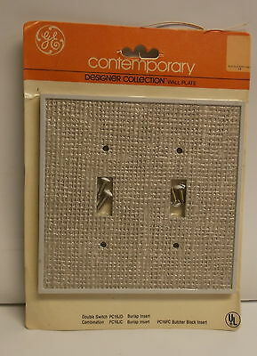 Vintage 1970s GE Contemporary Designer Burlap Insert Double Gang  2 Switch Cover