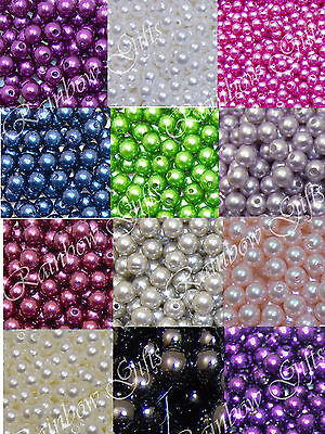 IMITATION GLASS PEARL ACRYLIC BEADS CHOOSE COLOUR & QUANTITY 4mm 6mm 8mm