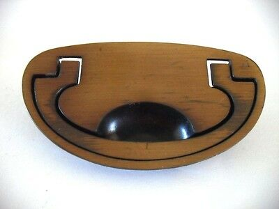 VTG Recessed OVAL Brass Chest Dresser Drawer Bale Pulls Industrial Steam Punk