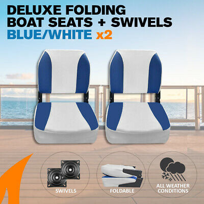 2 x Deluxe Blue & White Boat Folding Boat Seats w/ Swivels
