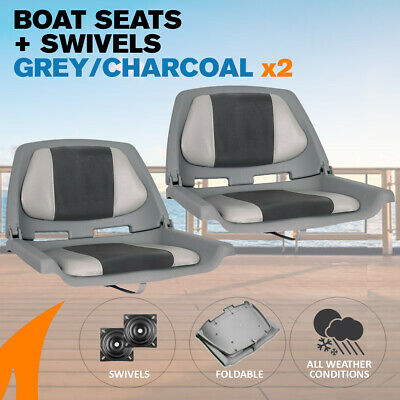 2 x Gray/Charcoal Boat Traveller Folding Boat Seats w/ Swivels