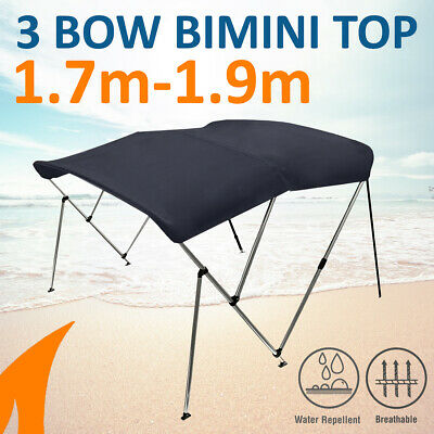 3 Bow 1.8m-2.0m Blue Boat Bimini Top Canopy Cover w/ Rear Poles & Sock