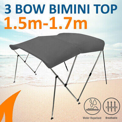 3 Bow 1.5m-1.7m Grey Boat Bimini Top Canopy Cover w/ Rear Poles & Sock